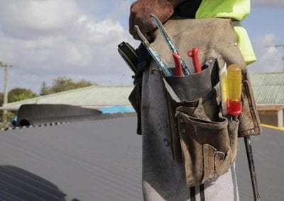 roofing tools and staff shamrock reroofing